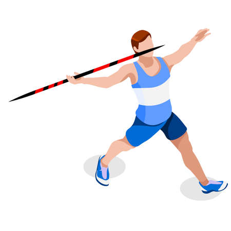 male athlete: Athletics Javelin  Summer Games Icon Set.3D Isometric Athlete.Sporting Championship International Athletics Competition.Sport Infographic Athletics High Jump Vector Illustration