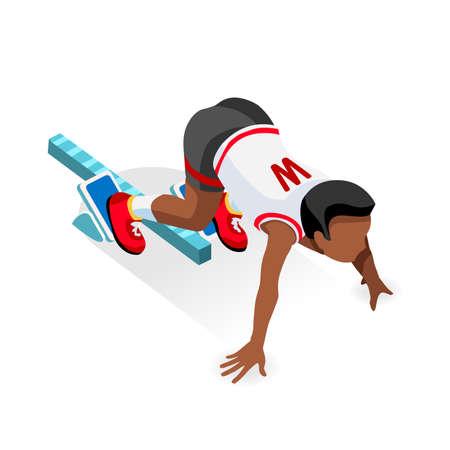 Sprinter Runner Atleta en la línea de salida atletismo Race Start Juegos de Verano Icono Set.3D plano isométrico Deporte de Atletismo Corredor del atleta al partir imagen Blocks.Sport vector de Infographic.