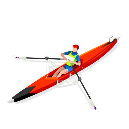 Kanu Rudern Einzelsommerspiele Icon Set.3D isometrischen Canoeist Paddler.Rowing Kanu Einzel Paddler Sportwettkampf Race.Sport Infografik Kanu Rudern Vector Illustration Vektorgrafik