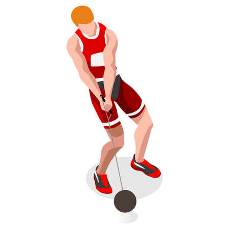 hammer throw: Athletics Hammer Throw  Summer Games Icon Set.3D Isometric Athlete.Sporting Championship International Competition.Sport Infographic Hammer Throw Athletics Vector Illustration Illustration