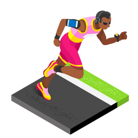 athlete cartoon: Marathon Runners Athletic Training Working Out Gym. Runners Running Athletics race Working Out for international championship competition. 3D Flat Isometric Marathon Gym Training Vector Image.