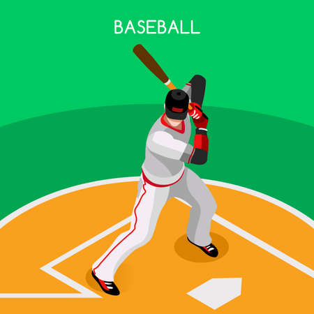 baseball diamond: Baseball Player  Sports Icon Set.3D Isometric Sport Set Baseball Championship International Competition.Sport Infographic Baseball Player Vector Illustration