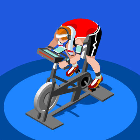 exercise equipment: Exercise Bike Spinning Fitness Class.3D Flat Isometric Spinning Fitness Bike. Gym Class Working Out Cycling Indoor Exercise Bike Gym Cycling Fitness Equipment. Gym Bike for Cycling Vector Image.