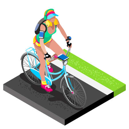 women working out: Road Cycling Cyclist Working Out.3D Flat Isometric Cyclist on Bicycle. Outdoor Working Out Road Cycling Exercises. Cycling Bike for Bicyclist athlete Working Out training Vector Image.