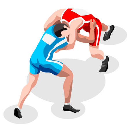 Wrestling Freestyle Fight  Summer Games Icon Set.3D Isometric Fighting Athletes.Sporting Championship International Wrestling Competition.Sport Infographic Freestyle Wrestling Vector Illustration Illustration
