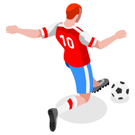 striker: Soccer Striker Player Athlete  Sports Icon Set.3D Isometric Field Soccer Match and Players.Sporting International Competition Championship.Sport Soccer Infographic Football Vector Illustration
