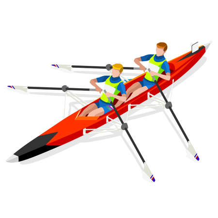 rower: Canoe Sprint Rowing  Summer Games Icon Set.3D Isometric Canoeist Paddler.Sprint Rowing Canoe Sporting Competition Race.Sport Infographic Canoe Rowing Vector Illustration Illustration