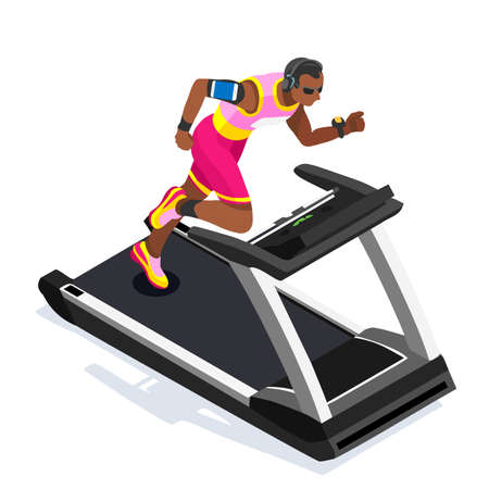 out of body: Treadmill Gym Class Working Out. Gym Equipment Treadmill Running Athlete Runners Working Out Gym Class. 3D Flat Isometric Marathon Runners athlete training Vector Image.