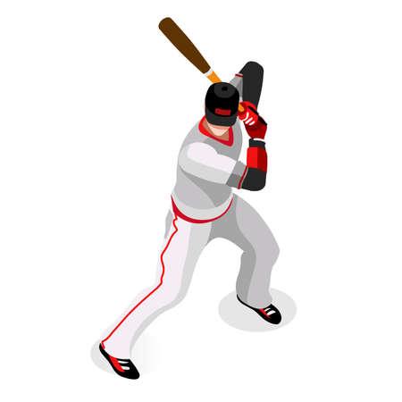 Baseball Player  Sports Icon Set.3D Isometric Sport Set Baseball Championship International Competition.Sport Infographic Baseball Player Vector Illustration