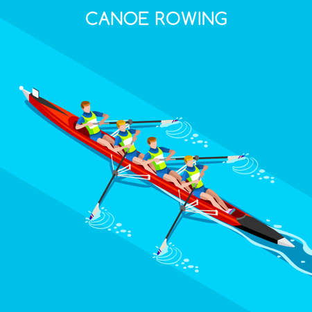 rower: Canoe Rowing Without Coxswain Four  Summer Games Icon Set.3D Isometric Canoeist Paddler.Rowing Canoe Sporting Competition Race.Sport Infographic Canoe Rowing Vector Illustration