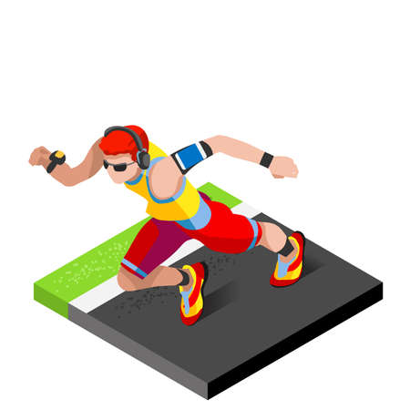 man working out: Marathon Runners Athletic Training Working Out Gym. Runners Running Athletics race Working Out for international championship competition. 3D Flat Isometric Marathon Gym Training Vector Image.