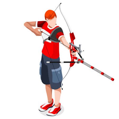 archer cartoon: Archery Player Summer Games Icon Set.3D Isometric Archery Player.Sporting Championship International Archery Competition.Sport Infographic Archery Vector Illustration