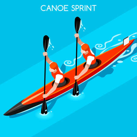 rower: Kayak Sprint Double 2016 Summer Games Icon Set.3D Isometric Canoeist Paddler.Sprint Kayak Sporting Competition Race.Sport Infographic Canoe Kayak Vector Illustration