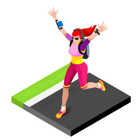 women working out: Marathon Runners Athletic Training Working Out Gym. Runners Running Athletics race Working Out for international championship competition. 3D Flat Isometric Marathon Gym Training Vector Image.