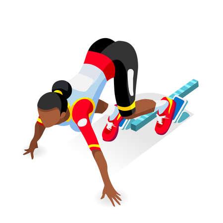 black block: Sprinter Runner Atleta en la línea de salida atletismo Race Start Juegos de Verano Icono Set.3D plano isométrico Deporte de Atletismo Corredor del atleta al partir imagen Blocks.Sport vector de Infographic. Vectores