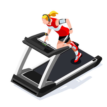 Treadmill Gym Class Working Out. Gym Equipment Treadmill Running Athlete Runners Working Out Gym Class. 3D Flat Isometric Marathon Runners athlete training Vector Image.