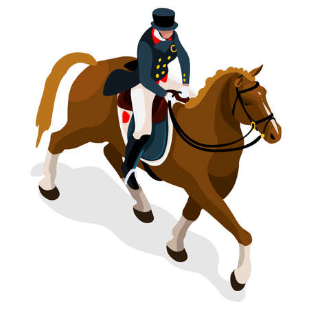 dressage: Equestrian Dressage  Summer Games Icon Set.3D Isometric Jockey and Horse Sporting Competition.Sport Infographic Equestrian Dressage Vector Illustration