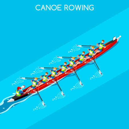 Canoe Rowing Coxswain Eight Summer Games Icon Set.3D Isometric Canoeist Paddler.Rowing Canoe Coxswain Eight Sporting Competition Race.Sport Infographic Canoe Rowing Vector Illustration