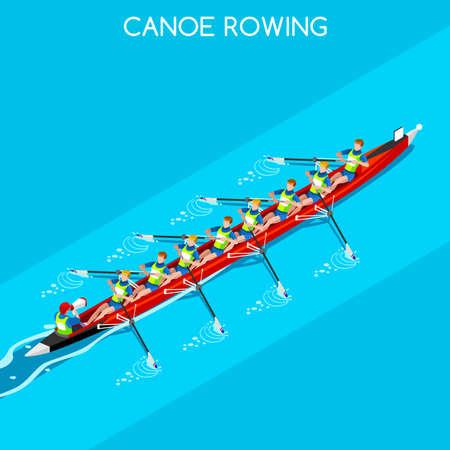 Kanu Ruder Coxswain Acht Sommerspiele Icon Set.3D isometrischen Canoeist Paddler.Rowing Kanu Coxswain Acht Sportwettbewerb Race.Sport Infografik Kanu Rudern Vector Illustration