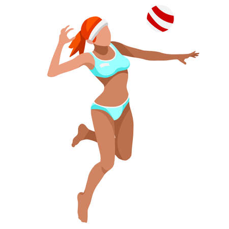 beach volley: Beach Volley Player   Sports Icon Set.3D Isometric Beach Volleyball.Sporting Championship International Beach Volley Competition.Sport Infographic Volley Vector Illustration