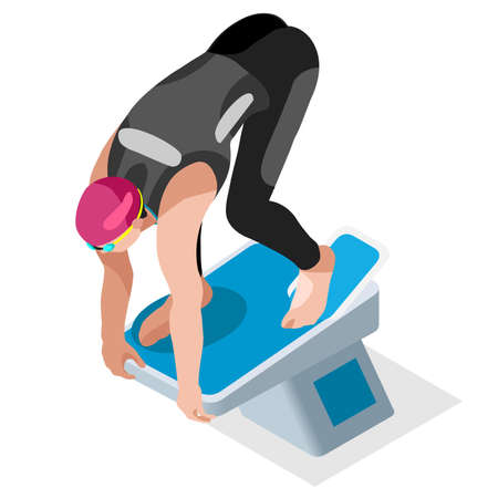 backstroke: Swimming Freestyle  Summer Games Icon Set.3D Isometric Swimmer.Breaststroke Backstroke Butterfly Relay Sporting Competition Race.Sport Infographic Swimming Vector Illustration