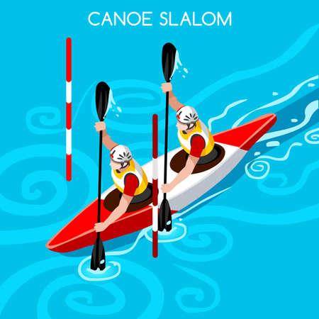 slalom: Kayak Slalom Double Canoe 2016 Summer Games Icon Set.3D Isometric Canoeist Paddler.Slalom Kayak Sporting Competition Race.Sport Infographic Kayak Slalom Vector Illustration