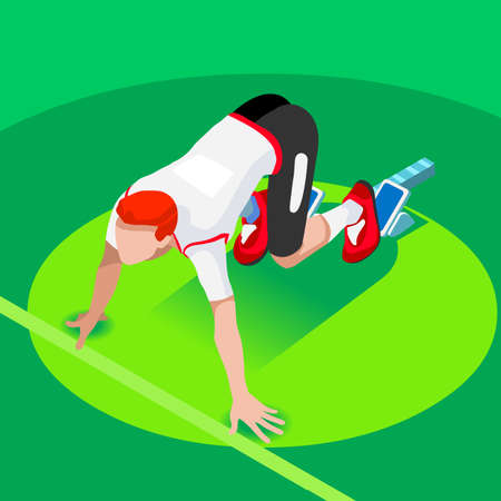 Sprinter Runner Athlete at Starting Line Athletics Race Start 2016 Summer Games Icon Set.3D Flat Isometric Sport of Athletics Runner Athlete at Starting Blocks.Sport Infographic Vector Image.