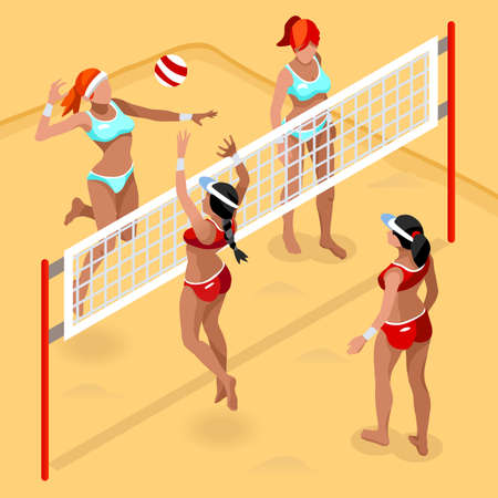 court: Beach Volley Player   Sports Icon Set.3D Isometric Beach Volleyball.Sporting Championship International Beach Volley Competition.Sport Infographic Volley Vector Illustration