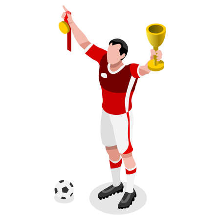 sports winner: Soccer Winner Player Athlete  Sports Icon Set.3D Isometric Soccer Winer Team Players.Sporting International Competition Championship.Sport Soccer Infographic Football Vector Illustration