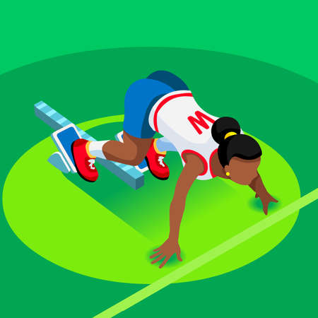 athletic: Sprinter Runner Athlete at Starting Line Athletics Race Start  Summer Games Icon Set.3D Flat Isometric Sport of Athletics Runner Athlete at Starting Blocks.Sport Infographic Vector Image.