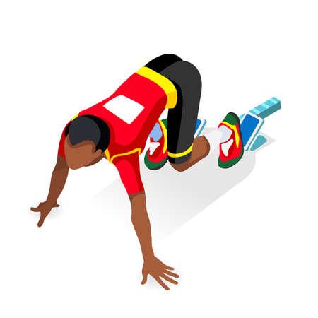 Sprinter Runner Athlet an Startlinie Leichtathletik-Race-Start 2016 Sommerspiele Icon Set.3D Wohnung isometrischen Sport Leichtathletik Runner Athlet an Start Blocks.Sport Infografik Vektor Bild.