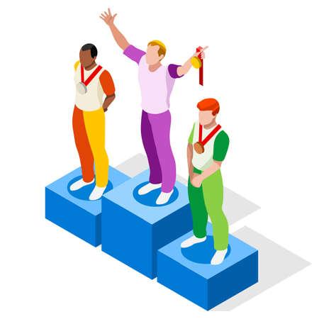 Winner Podium  Sports Icon Set.Speed Concept.3D Isometric Athlete.Sporting Competition.Sport Infographic Winner Podium Vector Illustration. Illustration