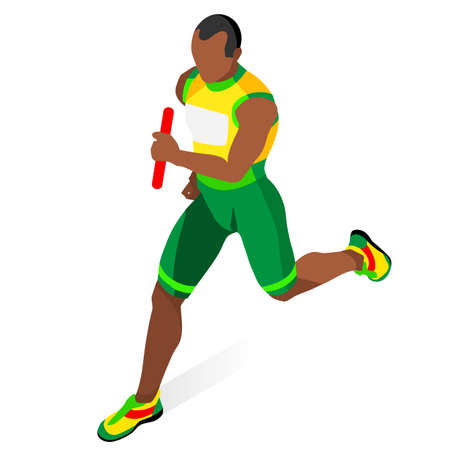relay: Running Men Relay of Athletic  Sports Icon Set.Speed Concept.3D Isometric Athlete.Sport of Athletics.Sporting Competition Race Runner.Sport Infographic Track Field Vector Illustration.