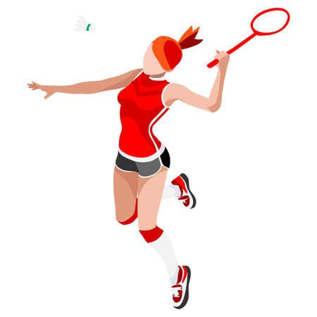 Badminton Player Summer Games Icon Set.3D isometrische Badminton Player.Sporting Championship International Badminton Competition.Sport Infographic Badminton Vector Illustration Stock Illustratie