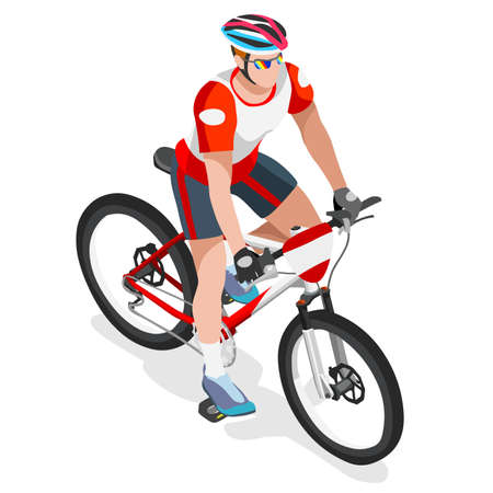 mountain biking: Mountain Biking Cyclist Bicyclist Athlete  Summer Games Icon Set.Mountain Biking Cycling Concept.3D Isometric Sporting Bicycle Competition Race.Sport Cycling Infographic Vector Illustration.