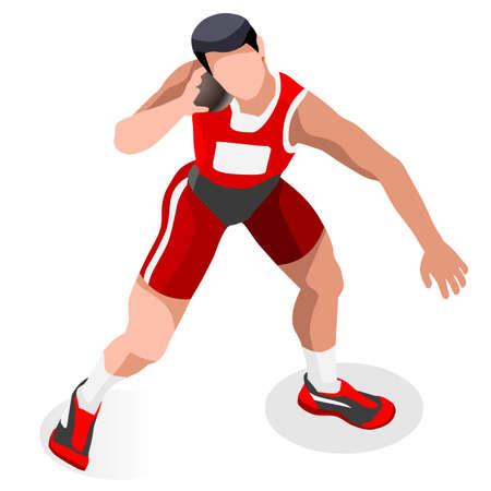 shot put: Athletics Shot Put  Summer Games Icon Set.3D Isometric Athlete.Sporting Championship International Competition.Sport Infographic Shot Put Athletics Vector Illustration Illustration