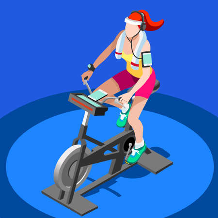 women working out: Exercise Bike Spinning Fitness Class.3D Flat Isometric Spinning Fitness Bike. Gym Class Working Out Cycling Indoor Exercise Bike Gym Cycling Fitness Equipment. Gym Bike for Cycling Vector Image.