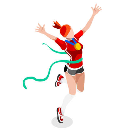 Running Winning Woman Athletics  Summer Games Icon Set.Win Concept.3D Isometric Win Runner Athlete.Sport of Athletics Sporting Competition.Sport Infographic Track Field Vector Illustration