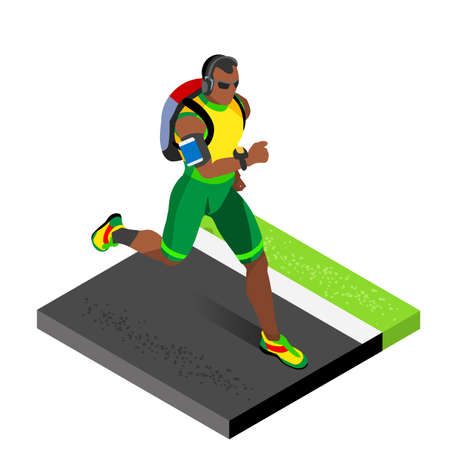 athletics: Marathon Runners Athletic Training Working Out Gym. Runners Running Athletics race Working Out for international championship competition. 3D Flat Isometric Marathon Gym Training Vector Image.