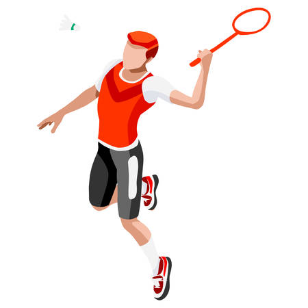 badminton racket: Badminton Player  Summer Games Icon Set.3D Isometric Badminton Player.Sporting Championship International Badminton Competition.Sport Infographic Badminton Vector Illustration Illustration