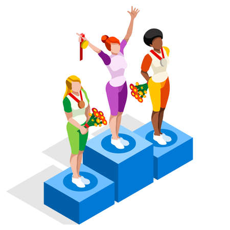 character cartoon: Winner Podium  Sports Icon Set.Speed Concept.3D Isometric Athlete.Sporting Competition.Sport Infographic Winner Podium Vector Illustration. Illustration