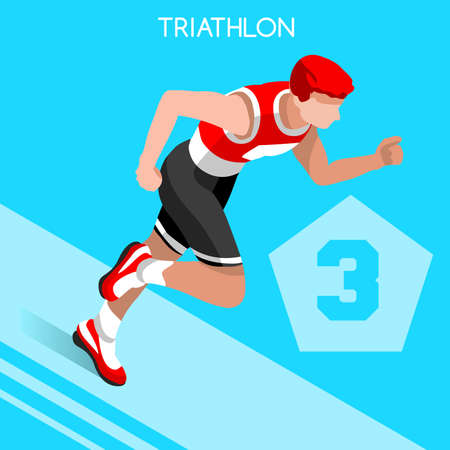 sequential: Triathlon   Summer Games Icon Set.3D Isometric Athlete Triathlete.Modern Triathlon Running Swimming Road Cycling Sporting Competition.Sport Infographic Triathlon Vector Image