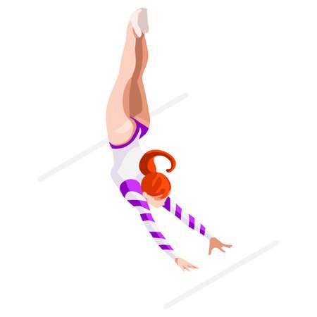 Artistic Gymnastics Uneven Bars   Summer Games Icon Set.3D Isometric Gymnast.Sporting Championship International Competition.Sport Infographic Artistic Gymnastics Vector Illustration