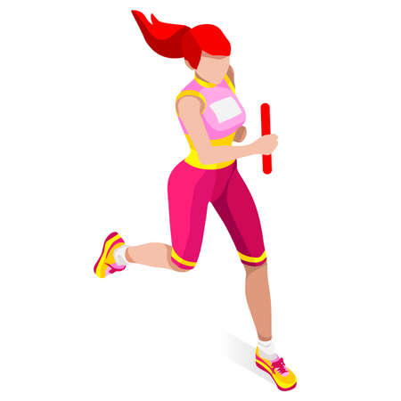 sports track: Running Women Relay of Athletic   Sports Icon Set.Speed Concept.3D Isometric Athlete.Sport of Athletics.Sporting Competition Race Runner.Sport Infographic Track Field Vector Illustration.