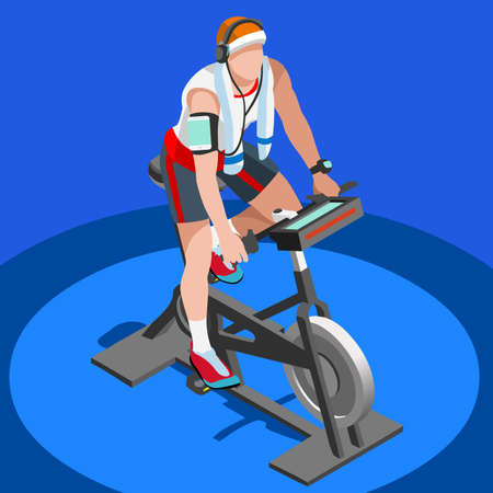 working out: Exercise Bike Spinning Fitness Class.3D Flat Isometric Spinning Fitness Bike. Gym Class Working Out Cycling Indoor Exercise Bike Gym Cycling Fitness Equipment. Gym Bike for Cycling Vector Image.