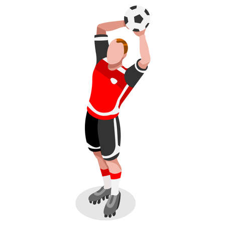 football ball: Soccer Throw Player Athlete  Sports Icon Set.3D Isometric Field Soccer Match and Players.Sporting International Competition Championship.Sport Soccer Infographic Football Vector Illustration