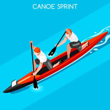 Canoe Sprint Double  Summer Games Icon Set.3D Isometric Canoeist Paddler.Sprint Canoe Sporting Competition Race.Sport Infographic Canoe Vector Illustration Ilustracja