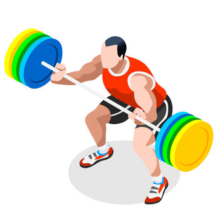 weightlifter: Weightlifting  Summer Games Icon Set.3D Isometric Weightlifter Athlete.Sporting Championship International Competition.Sport Infographic Athletic Weightlifting Vector Illustration