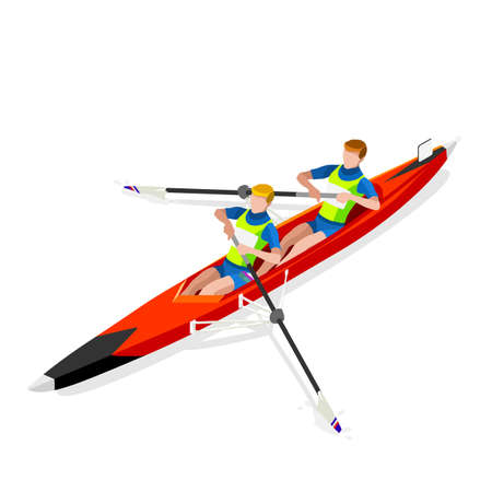 rower: Canoe Sprint Rowing Coxless Pair  Summer Games Icon Set.3D Isometric Canoeist Paddler.Rowing Canoe Coxless Pair Sporting Competition Race.Sport Infographic Canoe Rowing Vector Illustration
