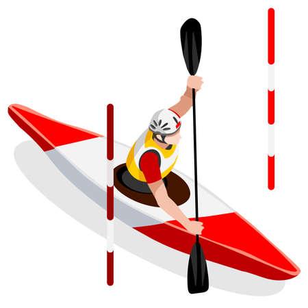 Ilustración kayak de slalom en canoa Juegos de Verano Icono isométrico Set.3D Piragüista Paddler.Slalom competición deportiva kayak Race.Sport Infografía kayak de slalom vector